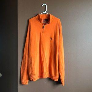 Chaps Orange Knit Quarter Zip Sweater XXL